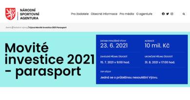 Investiční Výzvy č.7/2021 Movité investice 2021 parasport